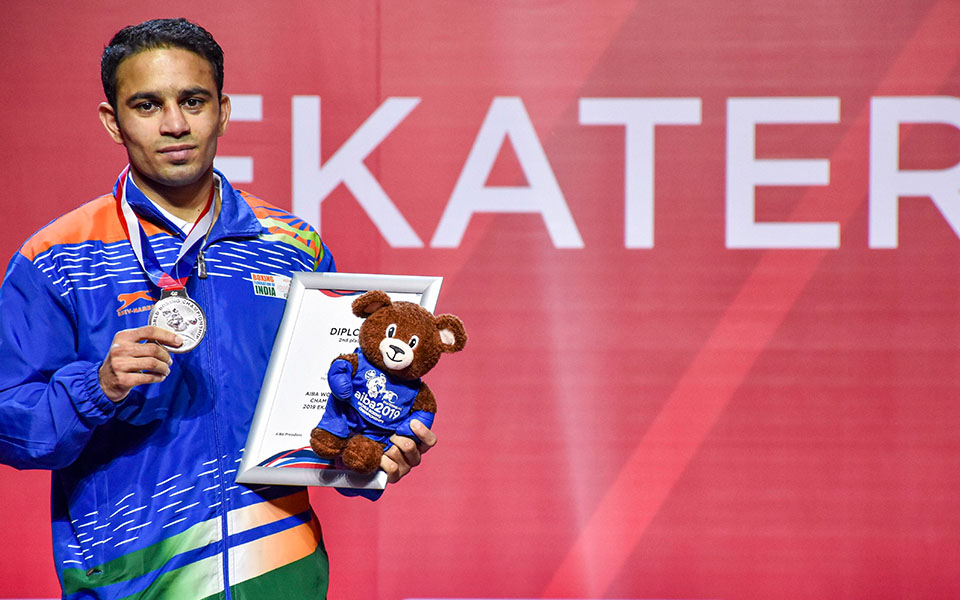 Amit Panghal first Indian Male Boxer to finish Second in World Championships event